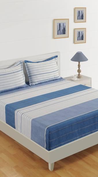 SWAYAM 180 TC Cotton Double Striped Bedsheet