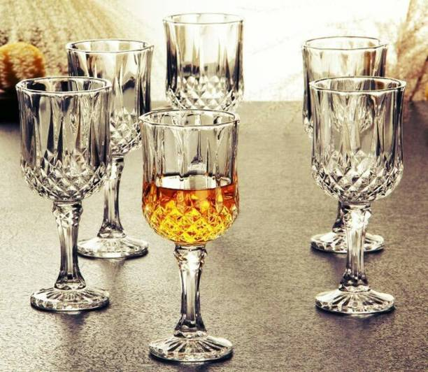 Fancy Craft (Pack of 6) 100% crystal Clear Elegant Reg Wine 220 ml set of 6 Glass Set