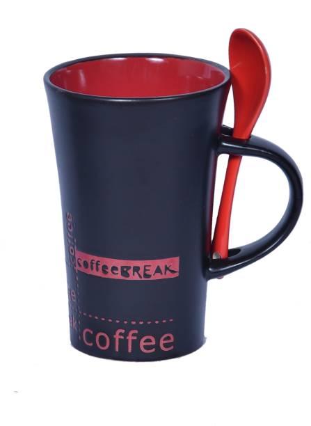 Candy Craft Black Colored Printed Ceramic Coffee/Tea/Milk Cup with Ceramic Spoon(Red) Ceramic Coffee Mug