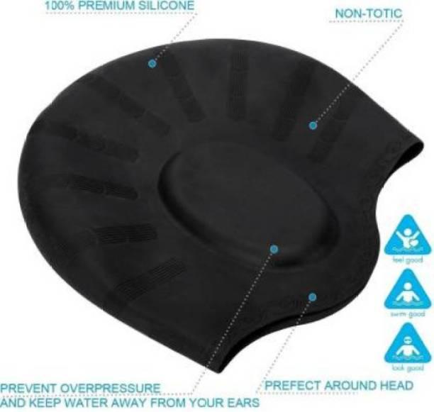 Nyalkaran Silicone Swimming Caps with Ear Pocket For Men & Women Swimming Cap Swimming Cap