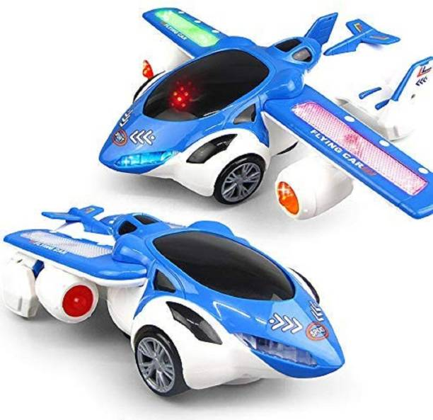 FunBlast 3 D Flying Car Toy for Kids with 360 Degree Rotation & Wing Opening   Sound & Light Toys for Kids Boys & Girls