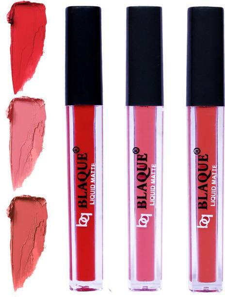 bq BLAQUE Matte Liquid Lip Gloss Combo of 3 Lipstick # 101-107-112