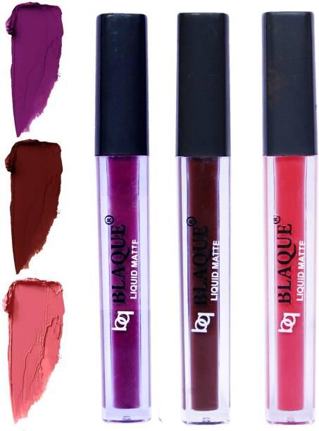 bq BLAQUE Matte Liquid Lip Gloss Combo of 3 Lipstick # 103-106-111