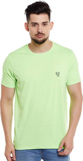 3SIX5 Solid Men Round or Crew Green T-Shirt