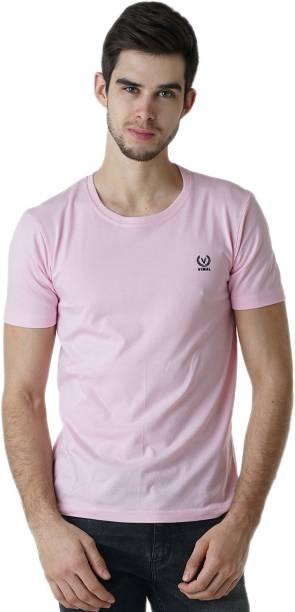 3SIX5 Solid Men Round Neck Pink T-Shirt