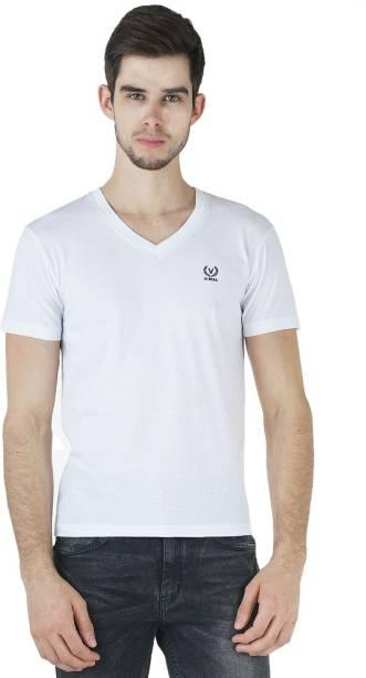 3SIX5 Solid Men V-neck White T-Shirt
