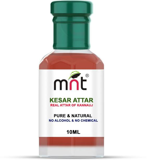 MNT Kesar Attar For Unisex, Long Lasting & Alcohol Free (10ml) - Pure Natural & Premium Quality Roll-on Floral Attar