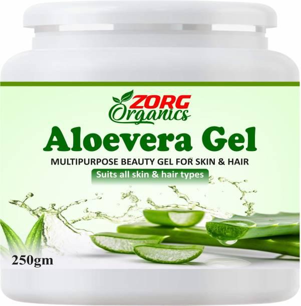 Zorg Organics Pure Natural Aloe Vera Gel (250 Gram ) - Ideal for Skin Treatment, Face, Acne Scars, Hair Treatment