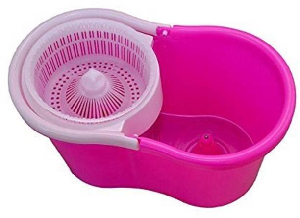 Diem 360° Spin Floor Mop And Bucket with Plastic Spinner_Pink Mop, Bucket