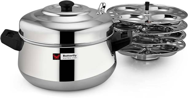 Butterfly Stainless Steel Idly Cooker Curve 4 Plates Set Induction & Standard Idli Maker