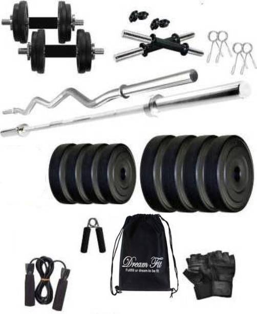 DreamFit 22 kg 22 Kg PVC weight Home Gym with straight rod, curl rod , Gym Bag and Accessories Home Gym Combo