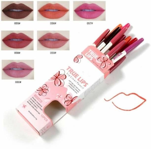 SWIPA True Lips water proof Lip Liner Pencil(Pack Of-12)