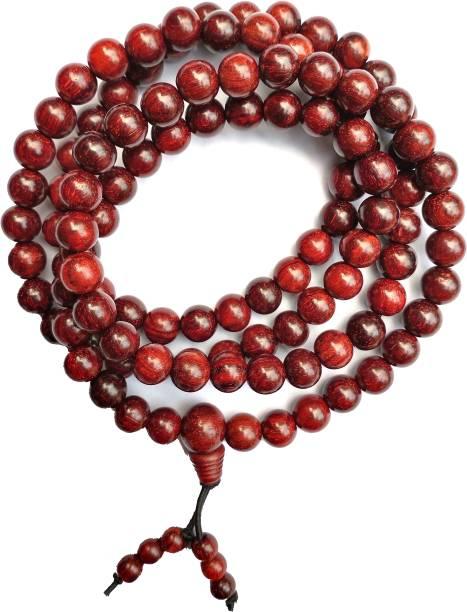 TWIRFY Original Chandan 108 Beads Puja / Pooja Mala 8mm For Mens & Women Beads Wood Chain
