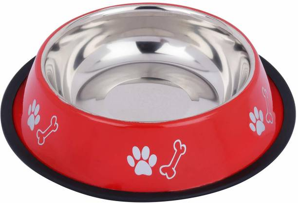 Naaz Pet Anti Skid Dog Bowls Export Quality(Red) Bone&Paw Pet Bowl for Feeding Dogs Cats and Pets 1500 ML Large Anti Skid Dog Bowls Export Quality(Red) Bone&Paw Pet Bowl for Feeding Dogs Cats and Pets 1500 ML Large Stainless Steel Pet Bowl