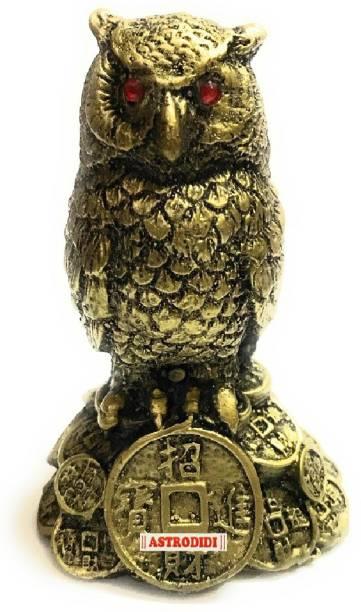 Astrodidi Feng Shui Owl For Good Health, Wealth, Good Luck & Prosperity Fengshui Ullu Decorative Showpiece  -  10 cm
