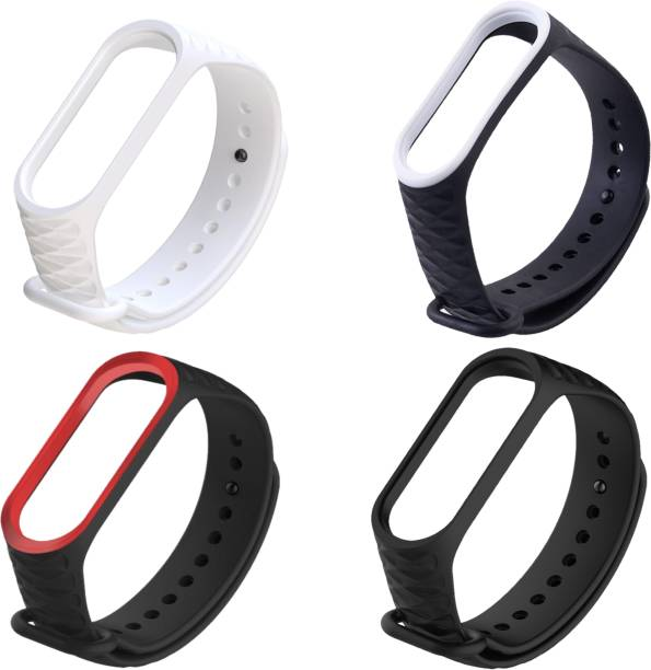 Microcart Combo pack of 4 Silicone Straps for models Xiaomi Mi Band 4 and Mi Band 3, with Diamond design and colors - Black, Black White, Black Red and White (Device not included) Smart Band Strap