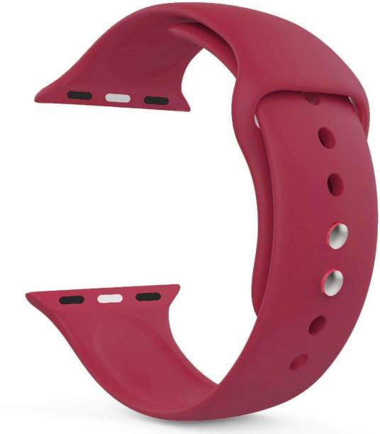 Big Wings Soft Silicone Sport Strap Band for iWatch Series 5, Series 4, Series 3, Series 2, Series 1 / Soft Silicone Waterproof Strap for Apple iWatch 42 MM / 44 MM (Wine Red) (Watch Not Included) Smart Watch Strap