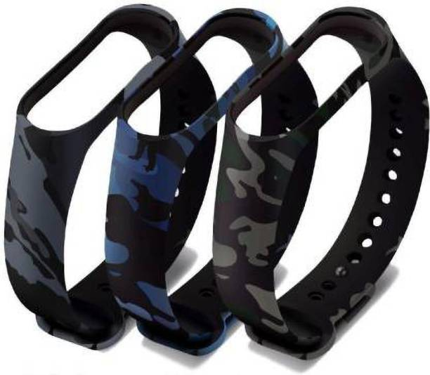 Datalact Camouflage Replacement Strap For 4 AND 3 Band Smart Band Strap Pack of 3 Smart Band Strap  (Mullti Color) Smart Watch Strap