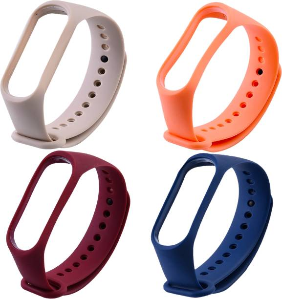 Microcart Combo pack of 4 Silicone Straps for models Xiaomi Mi Band 4 and Mi Band 3, with Plain design and colors - Deep Blue, Electric Orange, Pale Pink and Wine Red (Device not included) Smart Band Strap
