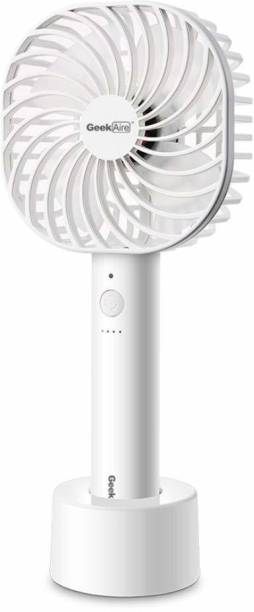Geek Aire, 5 Inch Rechargeable and Portable mini USB fan, 2600mAh Li-ion battery, 5 Speed option and Table dock (White) GF3 5 Inch Rechargeable Fan