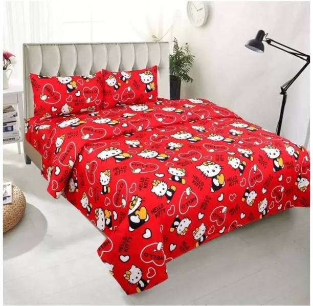 OM GOODS 144 TC Cotton Double Cartoon Bedsheet