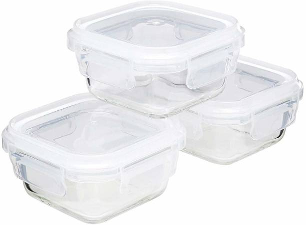 Cutting EDGE (Pack of 3) (Clear/Transparent) (320 ML) Hi-Quality Square Store Fresh n Lock Borosilicate Glass Bakeware Safe Storage Glass Container  - 320 ml, 320 ml, 320 ml Glass Fridge Container