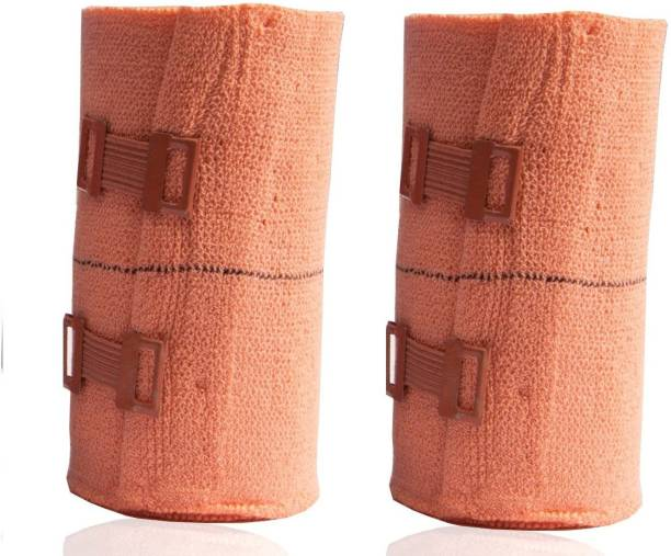 MODERNCOLLECTION High Elastic Crepe Elastane Bandage Wrap, Compression Cotton Rolls with Fastening Clips - Pack of 2 Crepe Bandage
