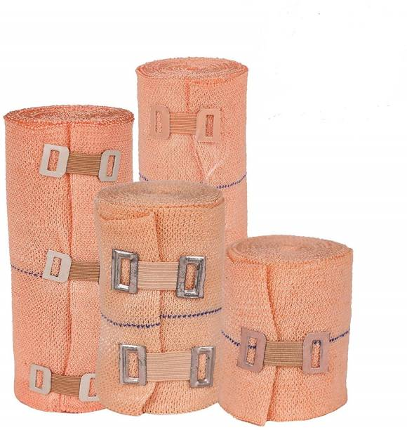 MODERNCOLLECTION High Elastic Crepe Elastane Bandage Wrap Compression Cotton Rolls with Fastening Clips - Pack of 2 Crepe Bandage