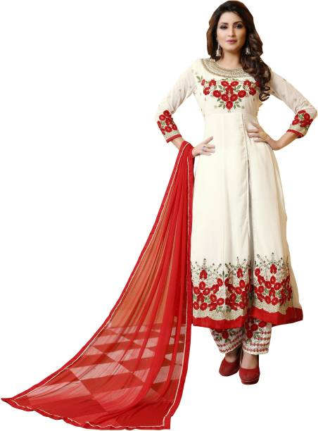 DIVINE INTERNATIONAL TRADING CO Poly Georgette Embroidered, Floral Print, Solid Salwar Suit Material