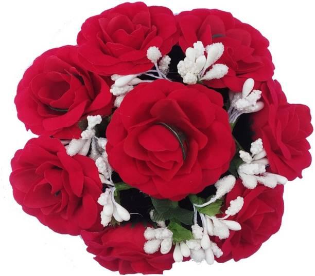 Shining Angel Designer Red Rose White Mulit-Flower Bridal Wedding Hair Extension Juda Accessories For Woman And Girl Bun