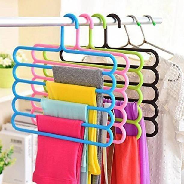 ClickUS 5 Pcs Multipurpose 5 Layer Hanger For Shirts , Ties , Pants , Jeans , T-Shirt , Sarees , Suits Space Saving hanger, Cupboard Organiser, Strong - Closet Organizer Closet Organizer