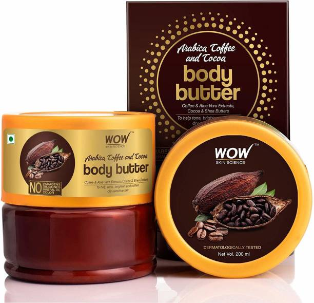 WOW SKIN SCIENCE Arabica Coffee and Cocoa Body Butter Enriched with Coffee & Aloe Vera Extracts, Coca and Shea Butters - No Parabens, Silicones, Mineral Oil & Color - 200mL