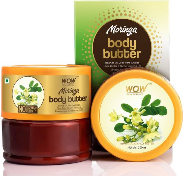 WOW SKIN SCIENCE Moringa Body Butter With Moringa Oil, Aloe Vera Extract, Shea Butter & Sweet Almond Oil - No Parabens, Silicones, Mineral Oil & Color - 200mL