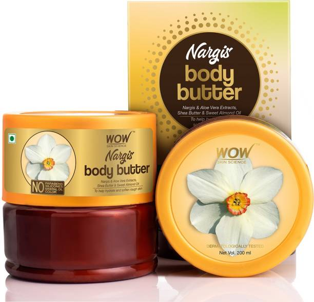WOW SKIN SCIENCE Nargis Body Butter With Nargis & Aloe Vera Extracts, Shea Butter & Sweet Almond Oil - No Parabens, Silicones, Mineral Oil & Color - 200mL