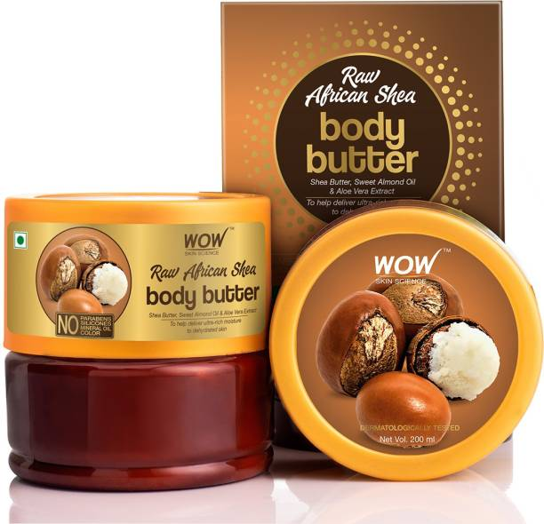 WOW SKIN SCIENCE Raw African Shea Body Butter for Ultra Rich Moisturising enriched with Shea Butter, Sweet Alomond, & Aloe Vera Extract- No Parabens, Silicones, Mineral Oil & Color - 200mL