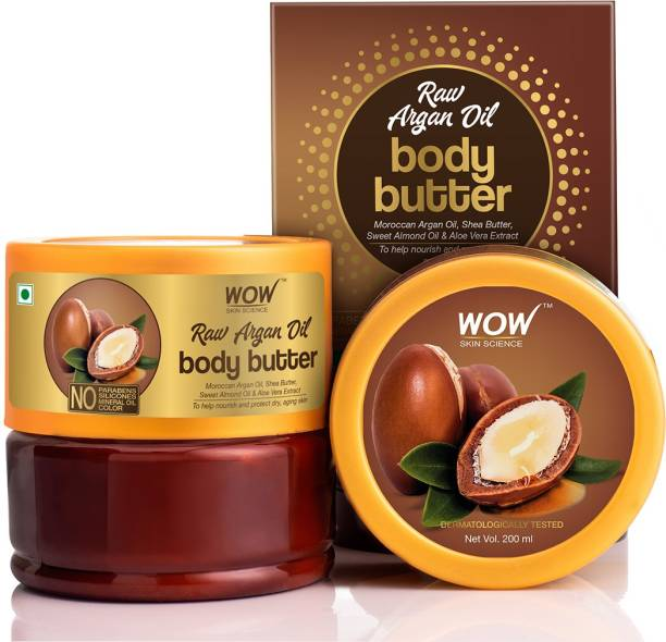 WOW SKIN SCIENCE Raw Argan Oil Body Butter Enriched With Moroccan Argan Oil, Shea Butter, Sweet Almond oil & Aloe Vera Extract - No Parabens, Silicones, Mineral Oil & Color - 200mL