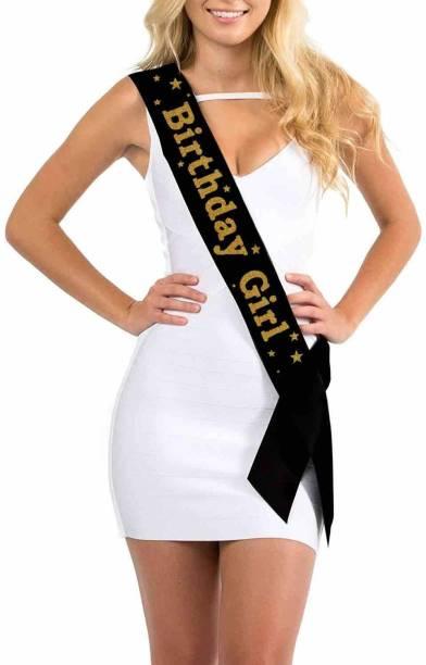 CAMARILLA Birthday Girl Black Sash for Birthday Parties/Party Props