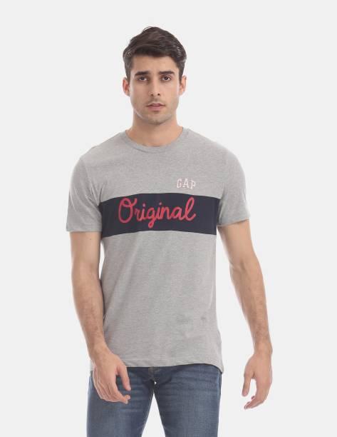GAP Printed Men Round Neck Grey T-Shirt