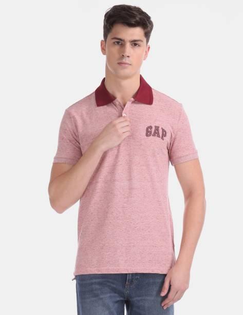 GAP Self Design Men Collared Neck Pink T-Shirt