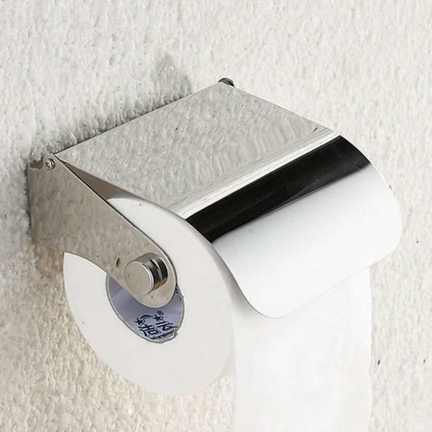 SBD Stainless Steel Multipurpose Bathroom Toilet Tissue Paper Napkin Holder (Easy Refill with Lid Full) Steel Toilet Paper Holder