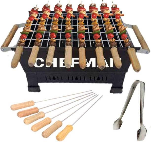 Chefman Barbeque Grill Charcoal Barbeque Grill & tandoor with 8 Skewers with Wooden Handle, Black, Charcoal Grill (Black) Charcoal Grill Charcoal Grill
