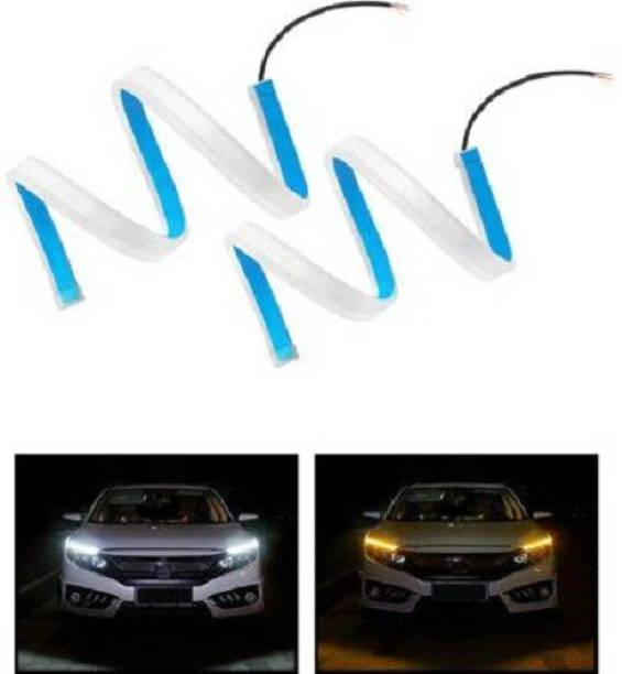 ACCESSOREEZ 60cm length LED Light Soft neon headlight design Article Lamp Daytime Car Fancy Lights with yellow indicator for cars Car Fancy Lights (White, Yellow) Car Fancy Lights