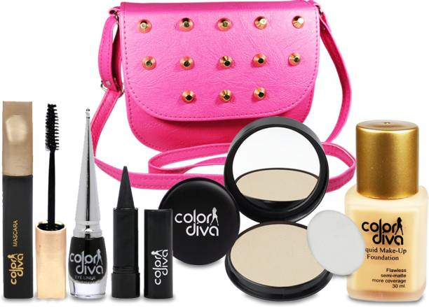 Color Diva Special For Beautiful Girls Makeup Combo Set With Stylish Sling Hand Bag Pack of 6, GC-547