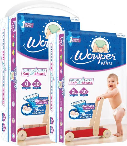 wowper Fresh Pants Diapers – Extra Large 30 Pieces (Pack Of 2) - XL