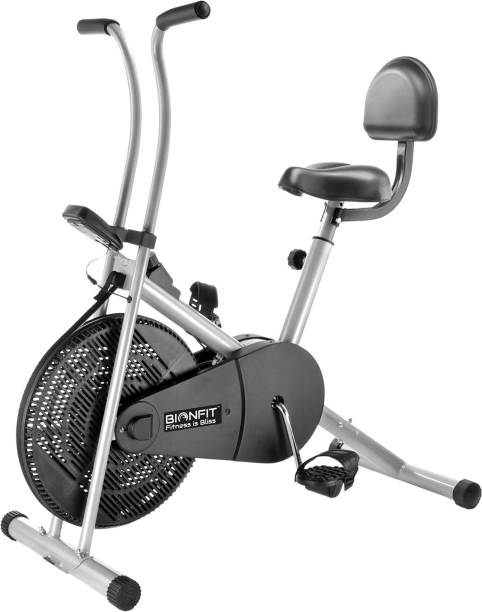 BIONFIT | Air Bike Fitness Exercise Cycle For Home| Stationary Handles with Back Support Upright Stationary Exercise Bike