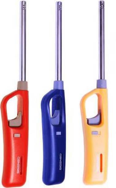 Roseleaf Roseleaf Multi Utility Flame Lighter with Adjustable Flame Plastic, Steel Gas Lighter (MULTICOLOR, Pack of 3) Plastic, Steel Gas Lighter