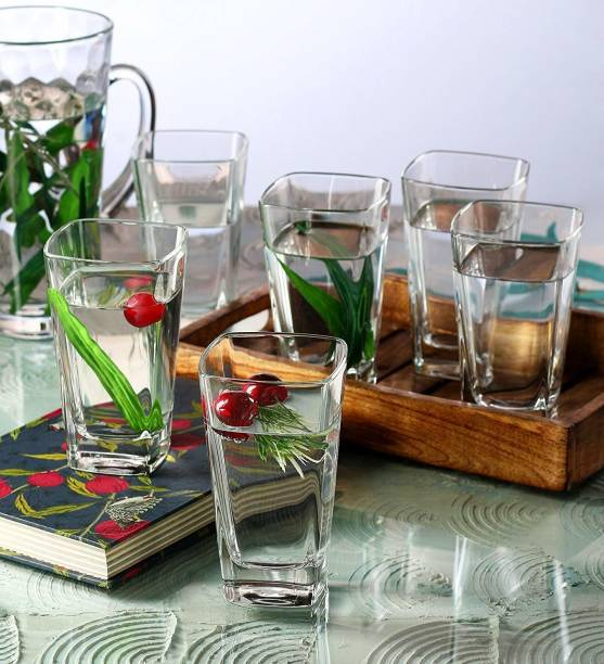 Air (Pack of 6) Crystal Clear Transparent Water & Juice Glasses Glass Set