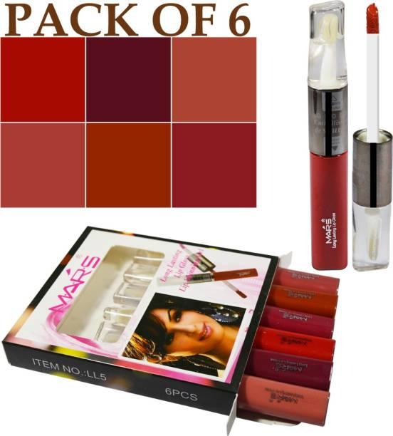 M.A.R.S 2in1 Long Lasting Lip Gloss Lip Shinning Gel Lipstick Shade-LL5B Pack of 6 With LaPerla Kajal