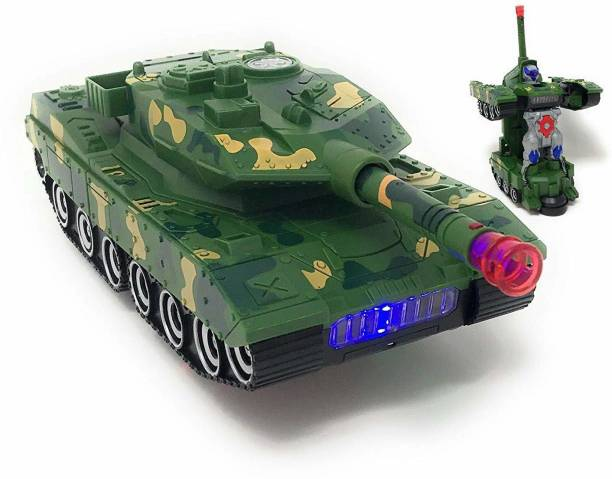 Toyvala Combat Army Tank Vehicle Deformation Robot Toy Action Figure | Flashing Light & Realistic Military Sounds | Electric Vehicle Bump and Go Action Toys for Boys