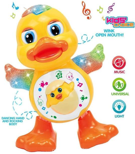 Rey N Ran Dancing Duck With Music and 3D Flashing Lights For Babies, Toddlers, Girls and Boys | Perfect Birthday (Return) Gift for Your Baby ,Dancing Duck Toy,LED Lighting Duck Walking ,Musical Sound Toy for Toddlers and Babies, Musical Duck Toy